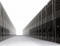 3d computer servers in perspective